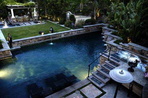 landscaped water backyard gardening outdoor