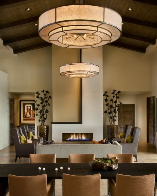 modern spanish house dining room and living room interiors