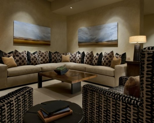 modern spanish house family room interiors
