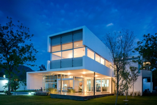 contemporary architecture  house  in el uro 4 night view