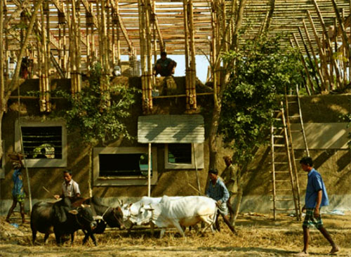 "Thumbnail image of Volunteers ""Barn-Raise"" a Low Carbon School in Bangladesh"