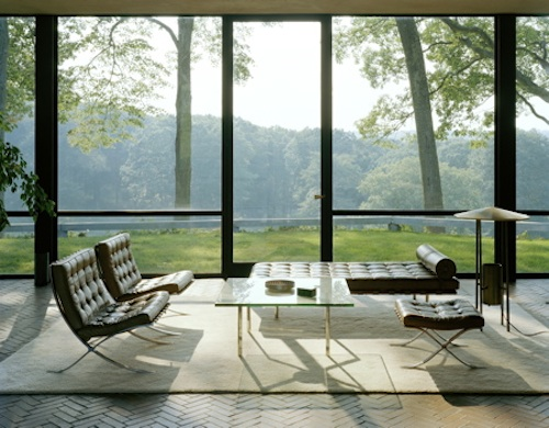 glass house interior green