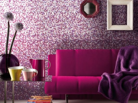 rich lavish wall covering purple mosaic tiles how to tips advice
