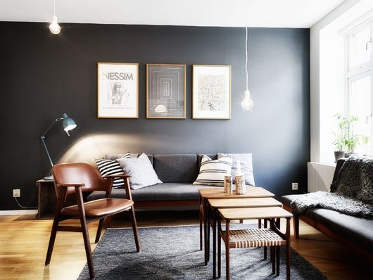 living room charcoal gray accent feature wall light bulb pendant cococozy planete-deco dot fr