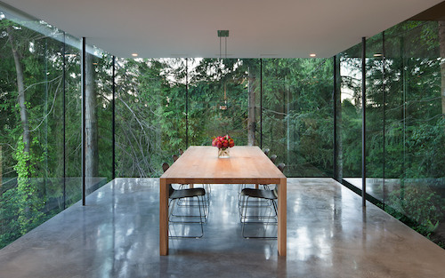 Glass Box Dining Room Cantilevers Out Towards Cedar Forest