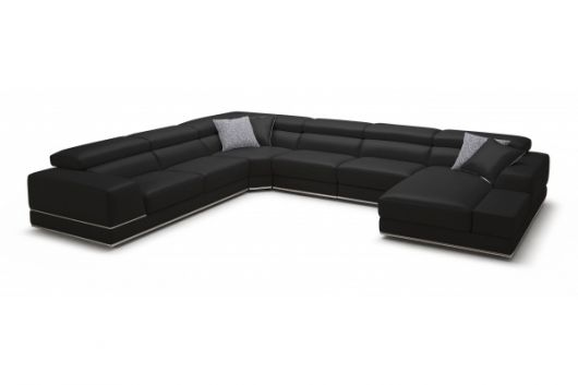 bergamo bblack sectional extended leather sofa furniture 2  sc 1 st  Home Design Find : modani sectional - Sectionals, Sofas & Couches