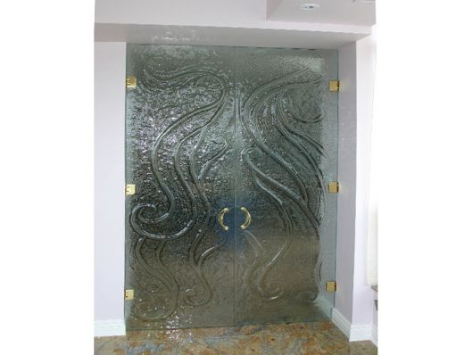 Textured Glass Double Doors uncategorized