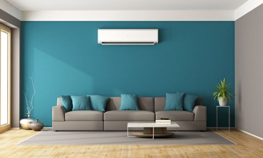 Modern living room with sofa and air conditioner - 3d rendering